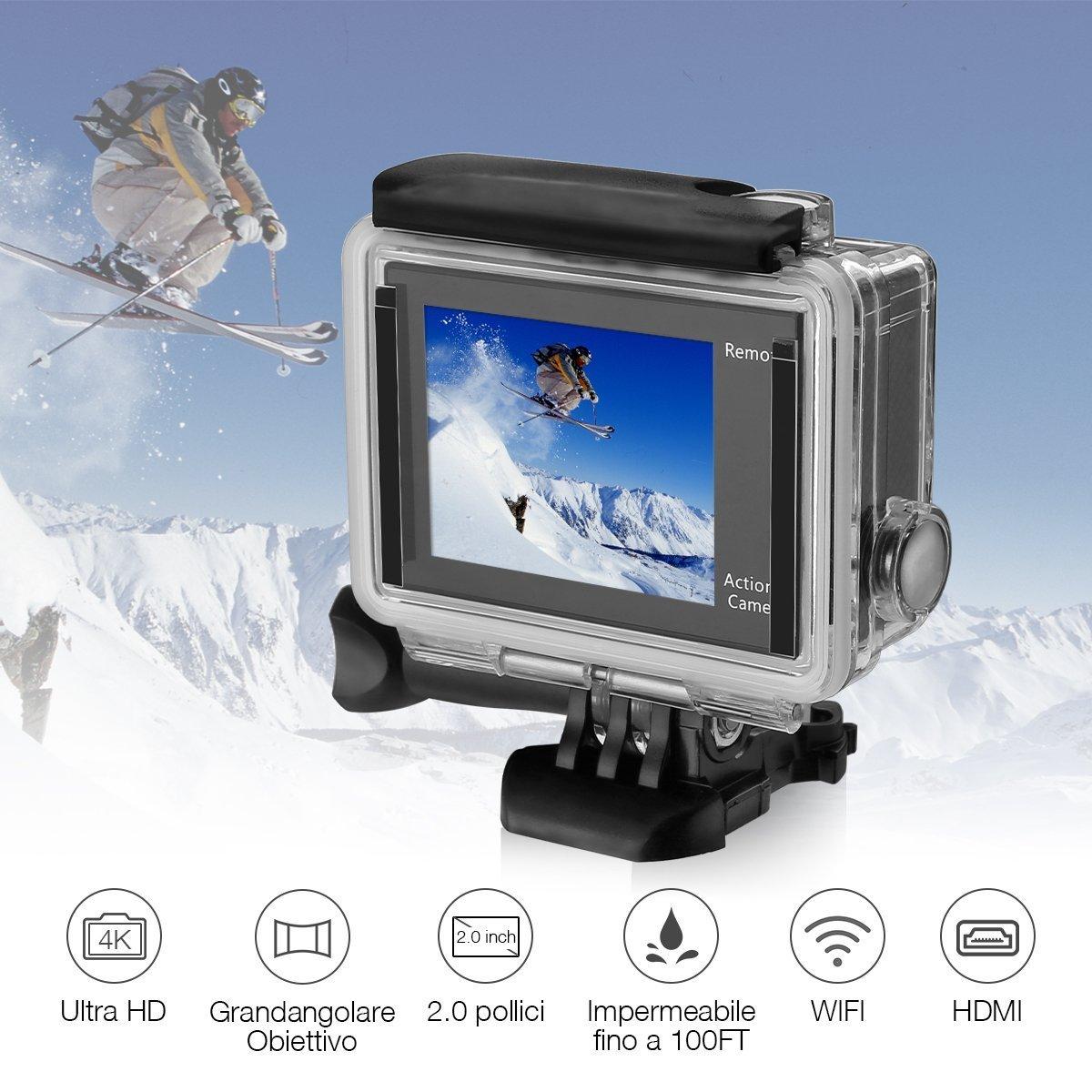Powerextra Action Cam WIFI 4K, Action Camera Sport Kit | Videocamera 1080P HD | 170°Grandangolare | Custodia Impermeabile 30M | Macchina Fotografica per Subacquea Nuoto