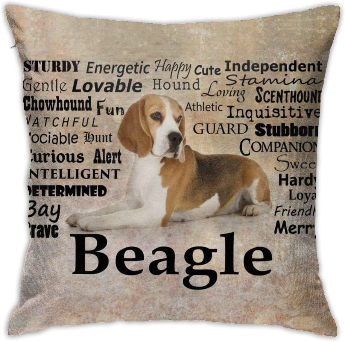 Yaateeh Beagle Dog Throw Pillow Covers Decorative 18x18 Inch Pillowcase Square Cushion Cases for Home Sofa Bedroom Livingroom