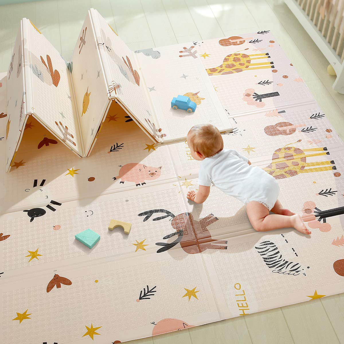 Baby Play Mat, Extra Large Baby Crawling Mat, Portable Waterproof Non Toxic Soft Foam, Anti-Slip Folding Puzzle Mat Playmat for Infants, Toddlers, Kids, Indoor or Outdoor Use, 77x70x0.6 inch