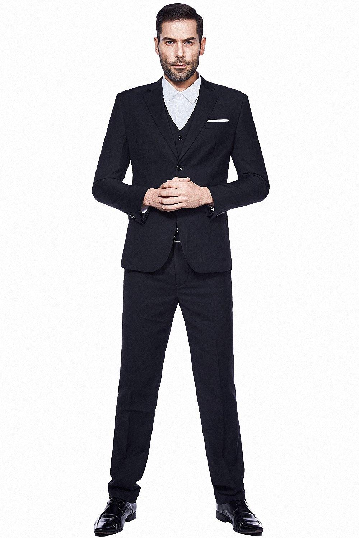 WULFUL Men's Suit Slim Fit 3 Piece Suit Blazer Two Button Tuxedo Business Wedding Party Jackets Vest&Trousers