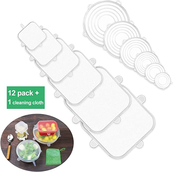 Silicone Stretch Lids Food Grade Flexible, Reusable, Durable Food Covers Bowl Can Lids Container Wrap Dishwasher Safe (12pack-clear)