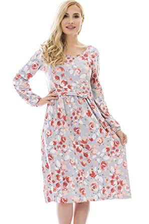 0259563745f20 bearsland Women's Maternity Long Sleeve Soft Nursing Breastfeeding Dresses  Pockets,orangeflower,M