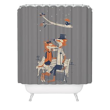 Fuzzy Ink Cute Fox Shower Curtain Hipster Dapper Forest Animals Vintage Romantic Love Birds Fabric Bathroom Decor