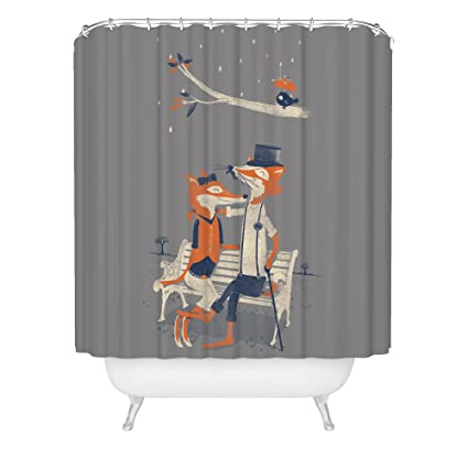 Fuzzy Ink Cute Fox Shower Curtain Hipster Dapper Forest Animals Vintage Romantic Love Birds Fabric Bathroom