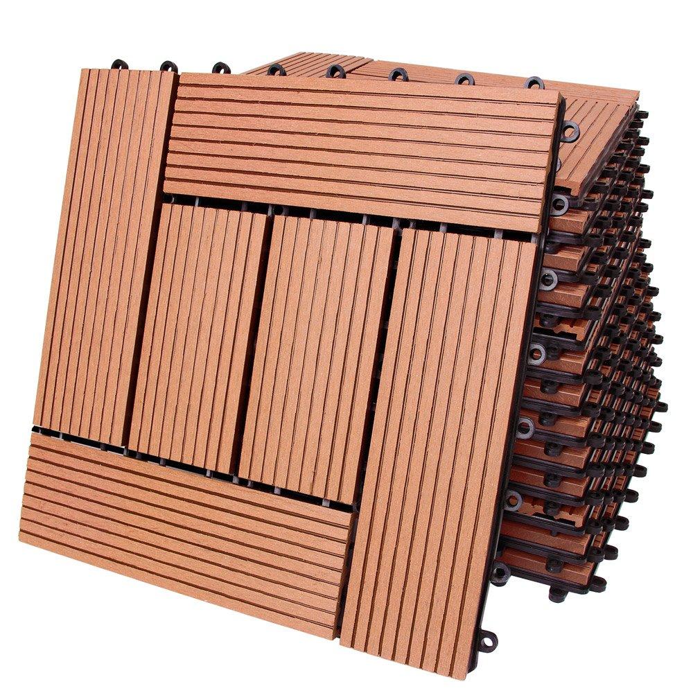 11x Dalle de terrasse en bois composite WPC Classique Terre cuite 30x30cm Jardin Deuba