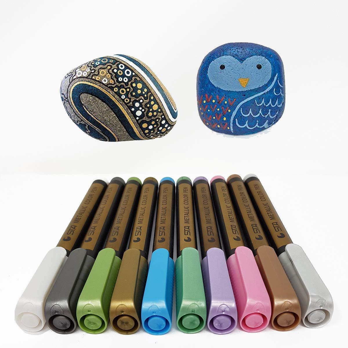 Metallic Marker penne–Leasel Metallic Colour Art penne set di 10colori assortiti per regalo, cartoline, album per creare le proprie foto, Rock painting, vetro, metallo, legno, ceramica, specchi funziona sulla maggior parte delle superfici