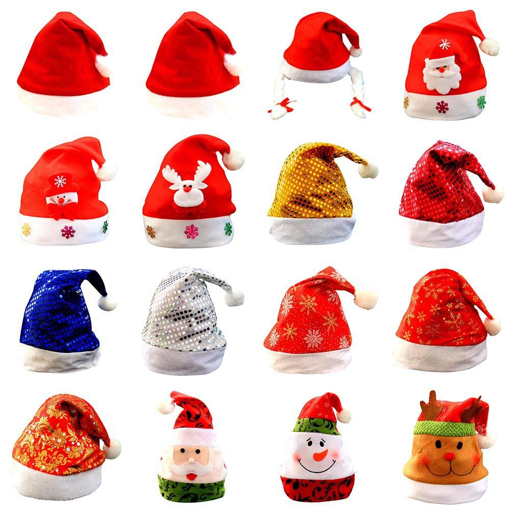 Handfly Santa Hat Christmas Hats Chrismas Party Xmas Festive gift -16 Types Santa Claus Hats
