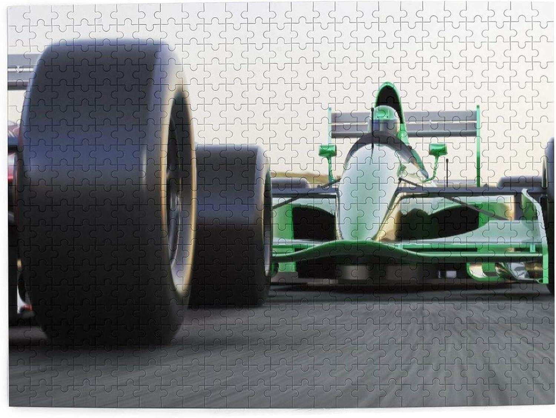 Rompecabezas con Imágenes 500 Piezas,Indy Cars de tema deportivo motorizado en carretera asfaltada con carrera de fórmula de desenfoque de movimiento,Juego Familiar Arte de Pared Regalo,20.4
