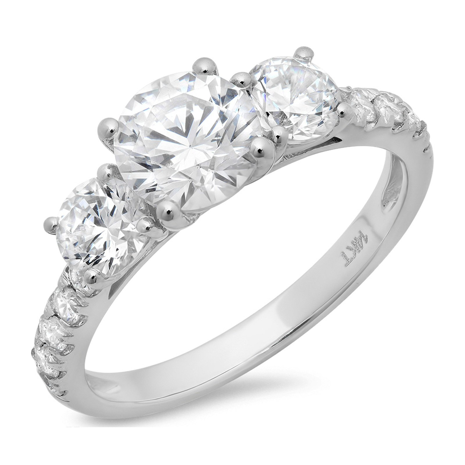 Clara Pucci 1.9 CT Round Cut CZ Pave Three Stone Accent Bridal Engagement Wedding Band Ring 14K White Gold, Size 9.5 by Clara Pucci