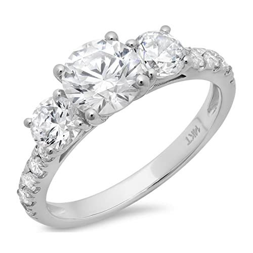 Clara Pucci 1.9 CT Round Cut Pave Three Stone Accent Bridal Engagement Wedding Band Ring 14K White G...