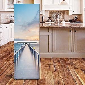 KELAI & craft art decor 3D Fridge Wallpaper Stickers Refrigerator Door Covers Fridge Mural Decals Seaside Boardwalk Bridge Refrigerator Stickers Wall Decal for Fridge(23.6 X 59.1)