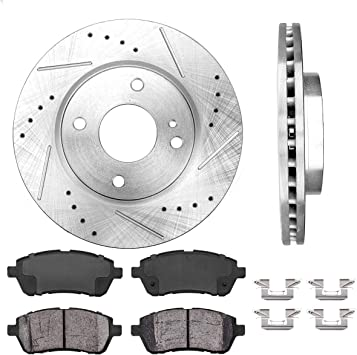 Rear Quality 258 mm 4 Lug Brake Disc Rotors And Ceramic Pads Pair Set Kit For