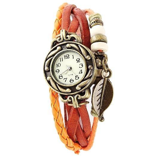 Reloj de Pusra Cuarzo Cuero Trenzado Mariposa Retro para Mujer Vintage: Amazon.es: Relojes
