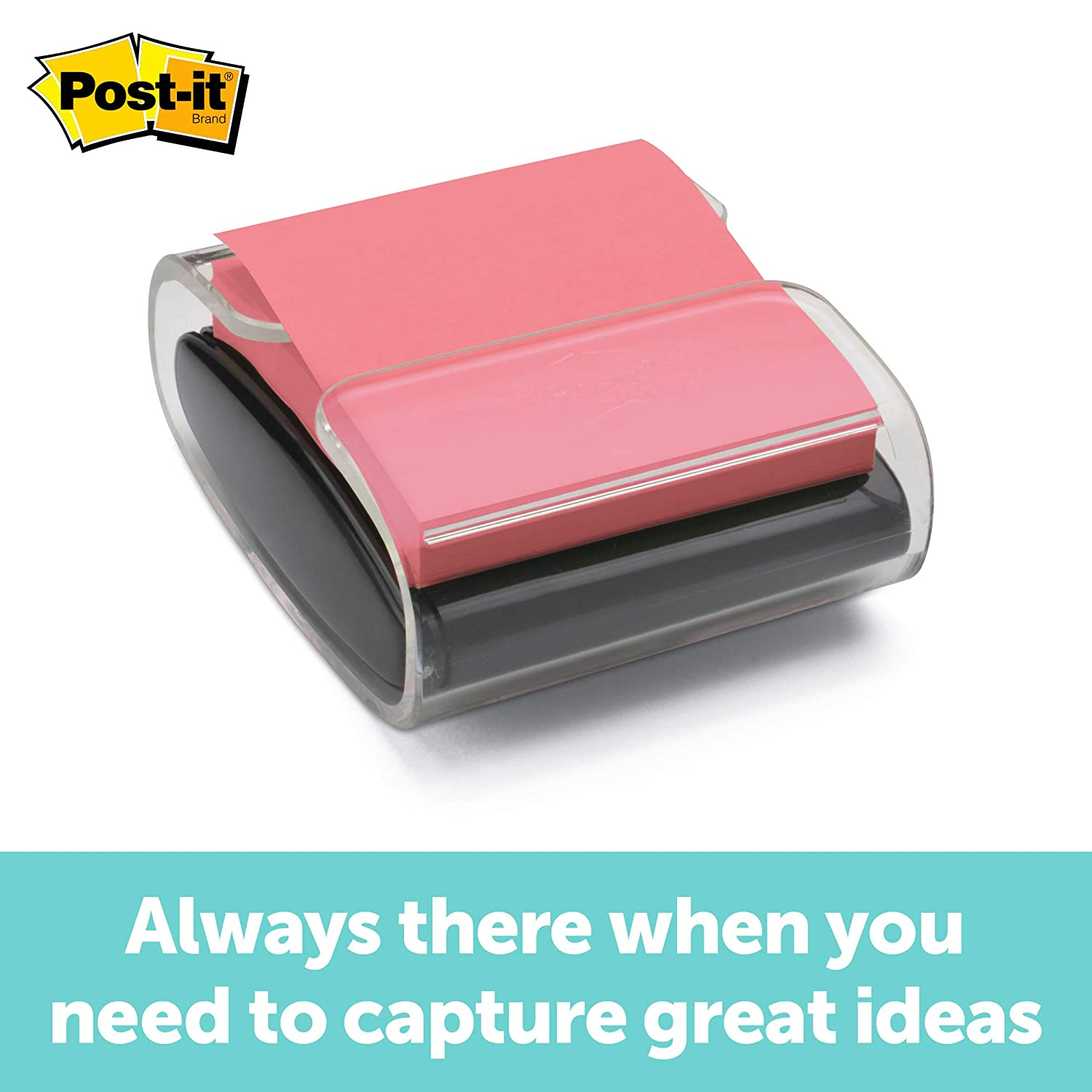 Post-it Pop-up Note Dispenser, Black, Designed to work with Post-it Pop-up Notes, Fits 3 in. x 3 in. Notes, 1 Dispenser/Pack, (WD330-BK)