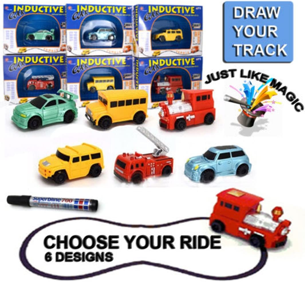 Starworld 1 Piece Self Driving Car Toy, Inductive Truck Train Bus Model Follows Path Drawn Line by Magic Pen Marker Random Pattern