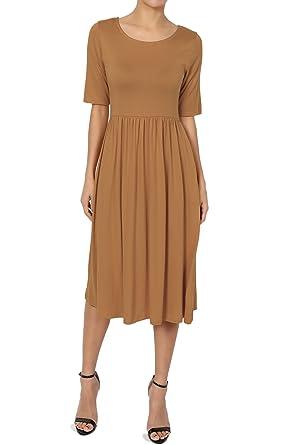 TheMogan Women s Half Sleeve Empire Waist Fit   Flare Pocket Dress ... 27d302152