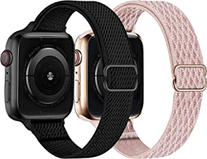 Swhatty 2 Pack Slim Sport Nylon Stretchy Solo Loop Band Compatible with Apple Watch 44mm 40mm 38mm 42mm,Thin Women Narrow Soft Stretch Elastics Braided Strap Wristband for iWatch SE Series 6/5/4/3/2/1