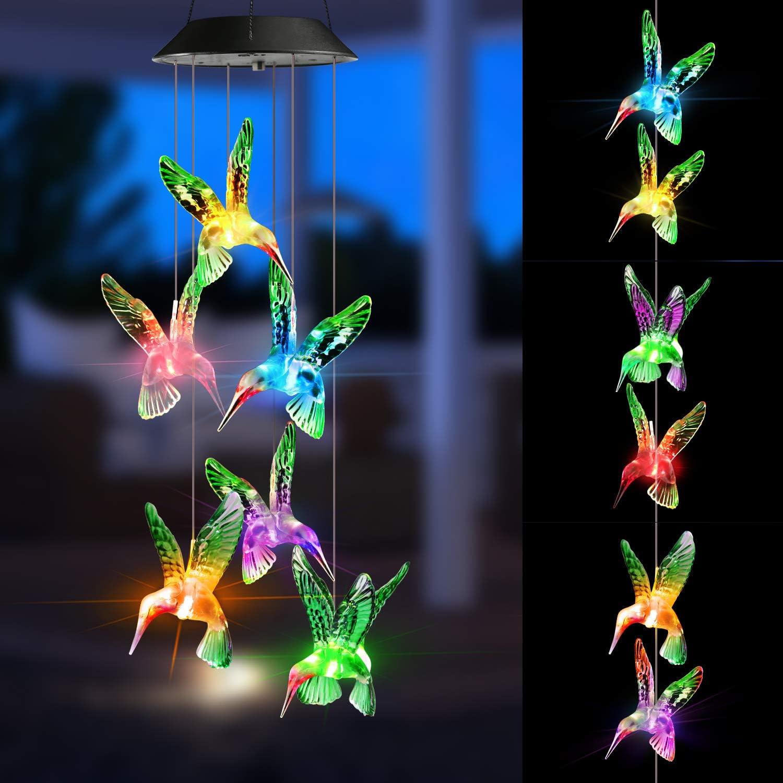 Joomer Solar Lights Outdoor, Solar Hummingbird Wind Chime Color Changing Decorative Solar String Lights, Solar Patio Lights for Home, Garden, Yard, Porch, Window