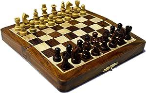 "Krishna Mart India Indian Walnut Style Magnetized Staunton Wood Chessmen Chess Set 7"""