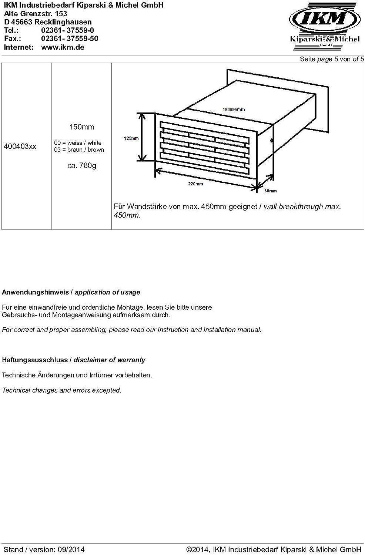 IKM 40050104 Mauerkasten Ablufttechnik Grau