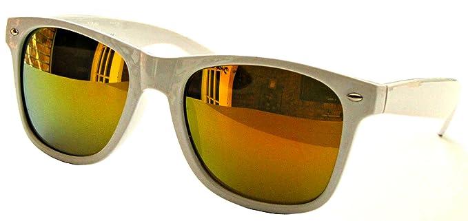 4e48cb2f07 Caminante de VOX estilo gafas de sol Retro Vintage clásico cuerno de  montura multicolor - Marco blanco - Lente reflectante naranja: Amazon.es:  Ropa y ...