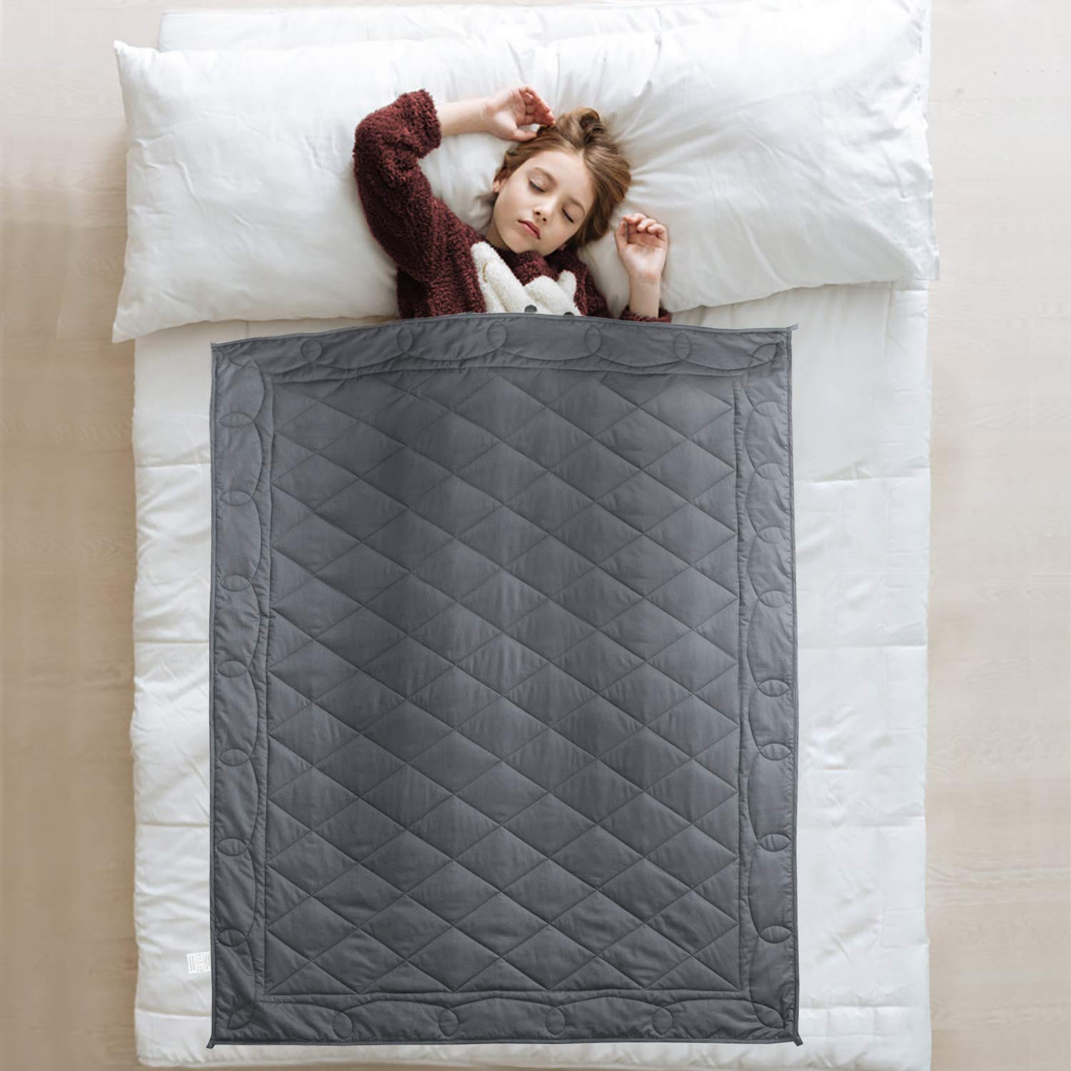 JOLLYVOGUE Weighted Blanket for Kids(10lbs,41x60Inches),Heavy Kids Bed Blanket with 100% Soft Cotton and Glass Beads-Dark Grey