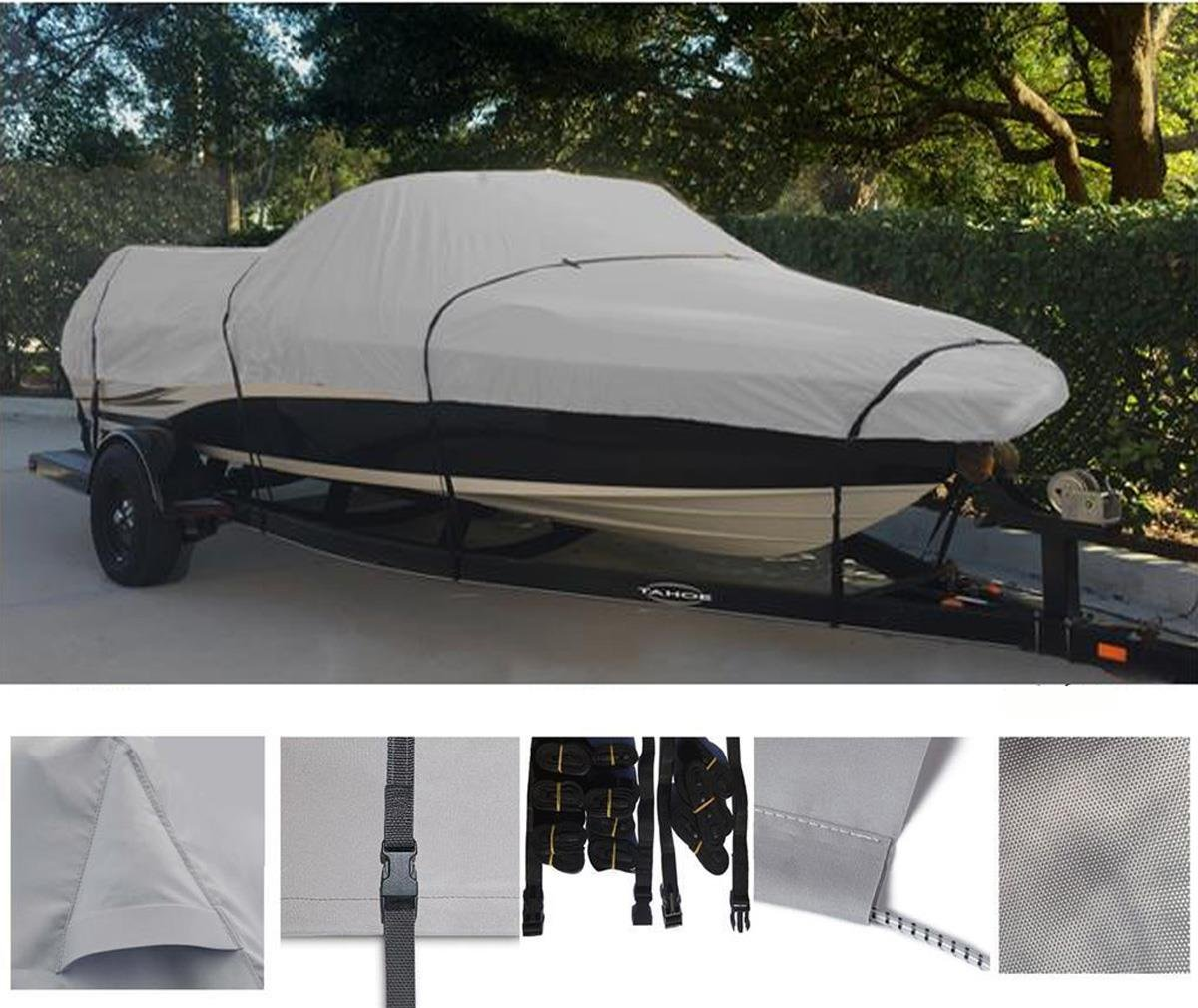 GREY, STORAGE, TRAVEL, MOORING BOAT COVER FOR SMOKER CRAFT PRO MAG 172 2006-2007 by SBU