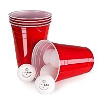 Vivaloo 50 Beer Pong Plastikbecher mit 6 Bällen, Turnierbecher, 16Oz, 473ml