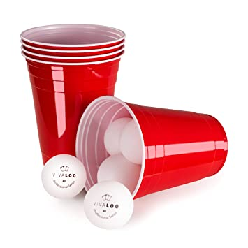 Vivaloo 100 Unidades 12 Pelotas Vasos De Plastico Vasos Rojos