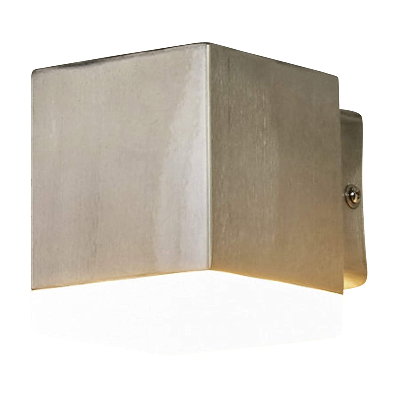Lampenwelt LED Wandleuchte auß en'Hedda' (spritzwassergeschü tzt) (Modern) in Alu aus Edelstahl (1 flammig, A+, inkl. Leuchtmittel) | LED-Auß enwandleuchten Wandlampe, Led Auß enlampe, Outdoor Wandlampe