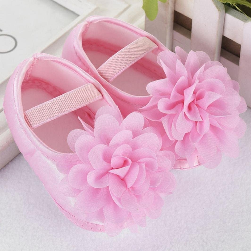 0~6 Month, Pink Baby Girl Newborn Walking Shoes,Elaco Kid Chiffon Flower Elastic Baby Shoes