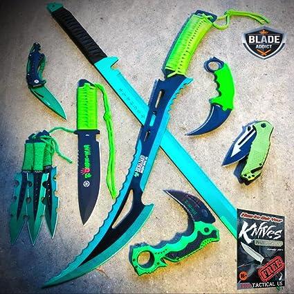 10 PC NInja Tactical Sword Machete Hunting Knife Fixed Blade ...
