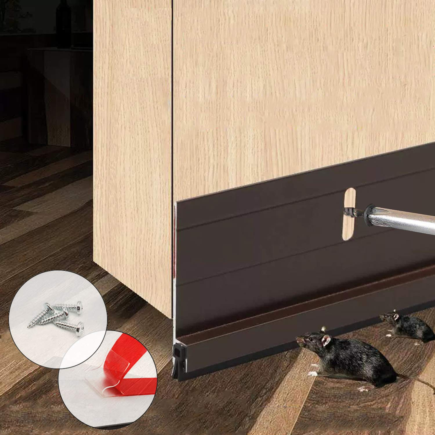 BAINING Heavy Duty Door Draft Stopper, Under Door Sweep Bottom Seal Strip, Made of Aluminium Anti Mouse Bite 2'' W x 36.5'' L, Brown by BAINING
