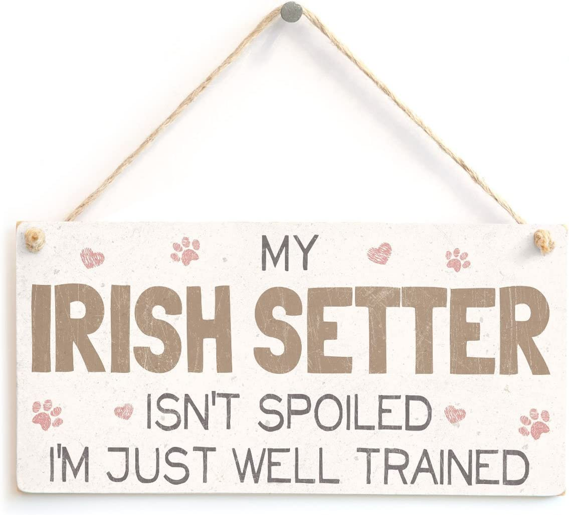 Meijiafei My Irish Setter Isn't Spoiled I'm Just Well Trained - Sweet Home Accessory Gift Sign for Irish Setter Dog Owners 10