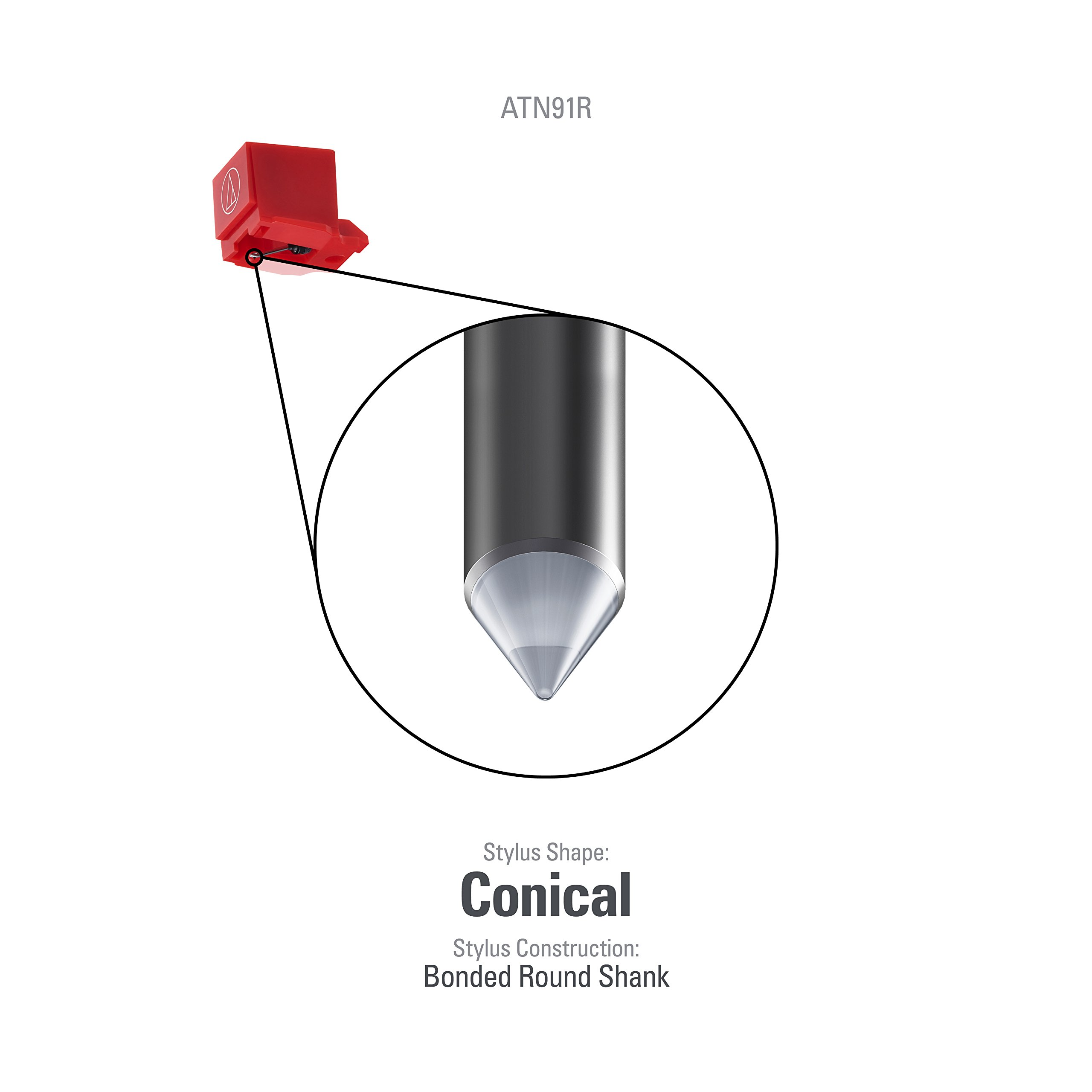 Audio-Technica ATN91R Replacement Conical Turntable Stylus for AT91R by Audio-Technica (Image #1)