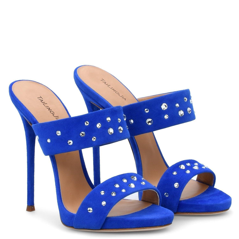 Elobaby Sandalias De Las Mujeres Peep Toe Pumps Party Size Toe Kitten Sexy Fashion/TacóN Alto/Vestido 37 EU Blue
