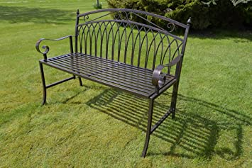 Olive Grove Versailles Folding Metal Garden Bench In Antique Bronze Finish  COMPLETE WITH CUSHION WORTH £