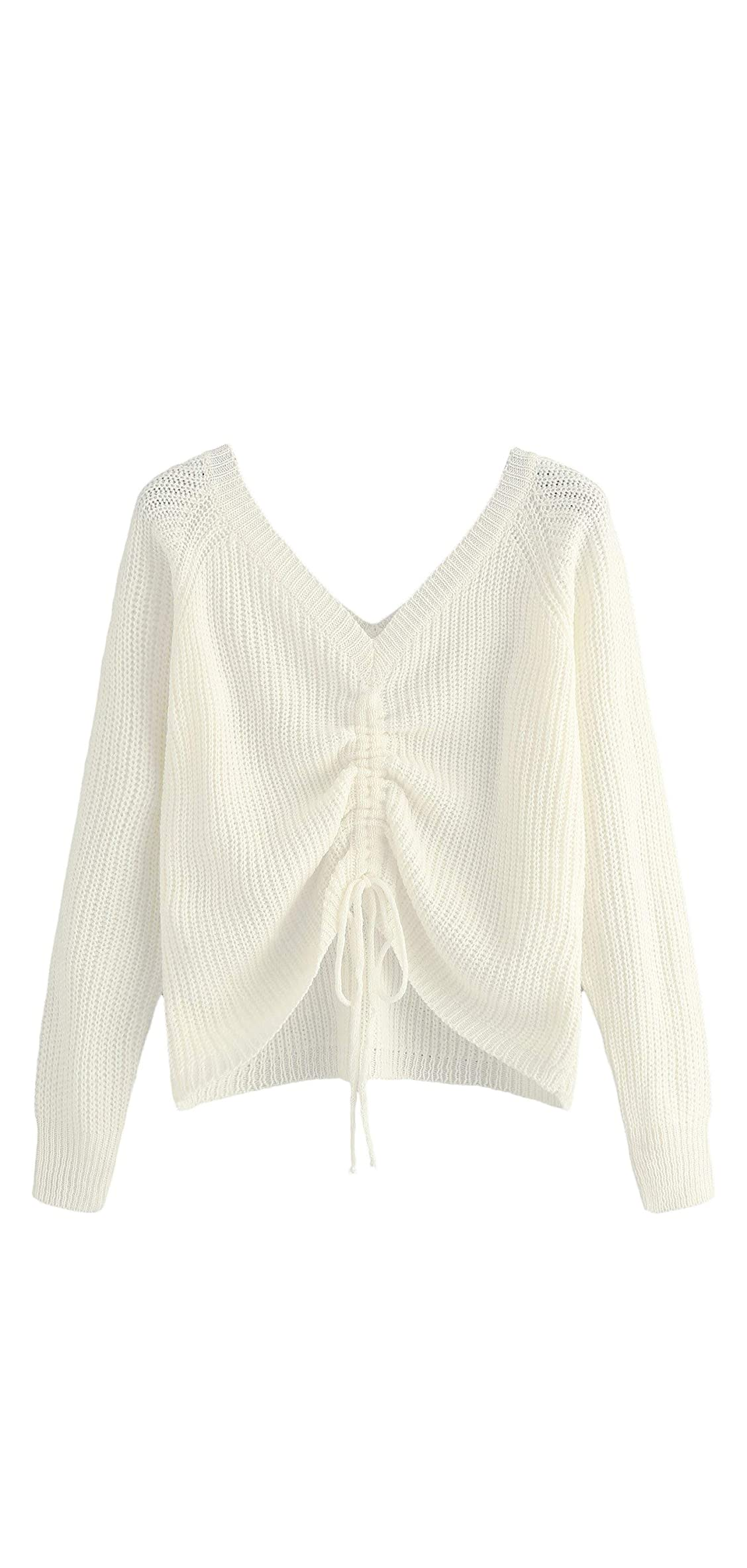 Women's Drawstring Knot Casual V Neck Pullover Crop