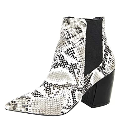 3585a40bb3ec Themost Snakeskin Ankle Boots Womens Grey Snake Print Booties Short Chunky Heel  Boot Pointed Toe Shoes