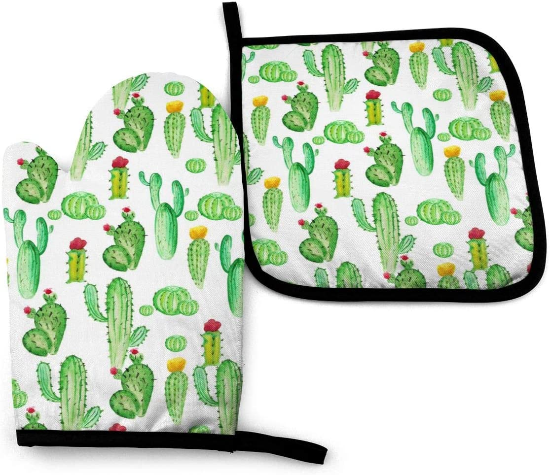 VunKo Watercolor Cactus Succulents Oven Mitts and Pot Holders Sets Heat Resistant Oven Gloves with Non-Slip Surface for Safe BBQ Cooking Baking Grilling Set of 2