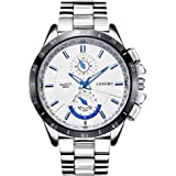LONGBO Mens Unique Big Face Dial Analog Quartz Business Watch Military Waterproof Stainless Steel Band Wrist