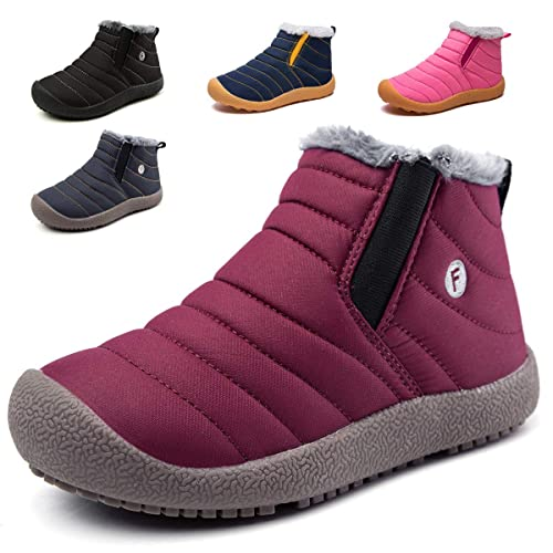cbc1e59ceb086 KVbaby Bottes de Neige pour Enfant Chaud Hiver Chaussures Fille Garçon  Fourrure Doublé Antidérapant Bottes d