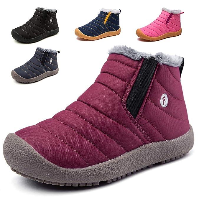1d5745c17617e KVbaby Bottes de Neige pour Enfant Chaud Hiver Chaussures Fille Garçon  Fourrure Doublé Antidérapant Bottes d hiver Martin Bottes  Amazon.fr  Chaussures  et ...