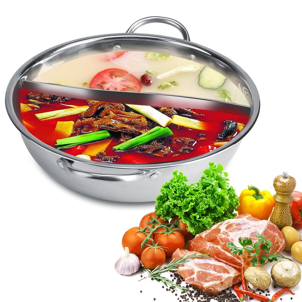 Stainless Steel Hot Pot, Glass Lid Hot Pot with Divider Soup Cooking Pots 27/29/31cm (30cm) Fdit