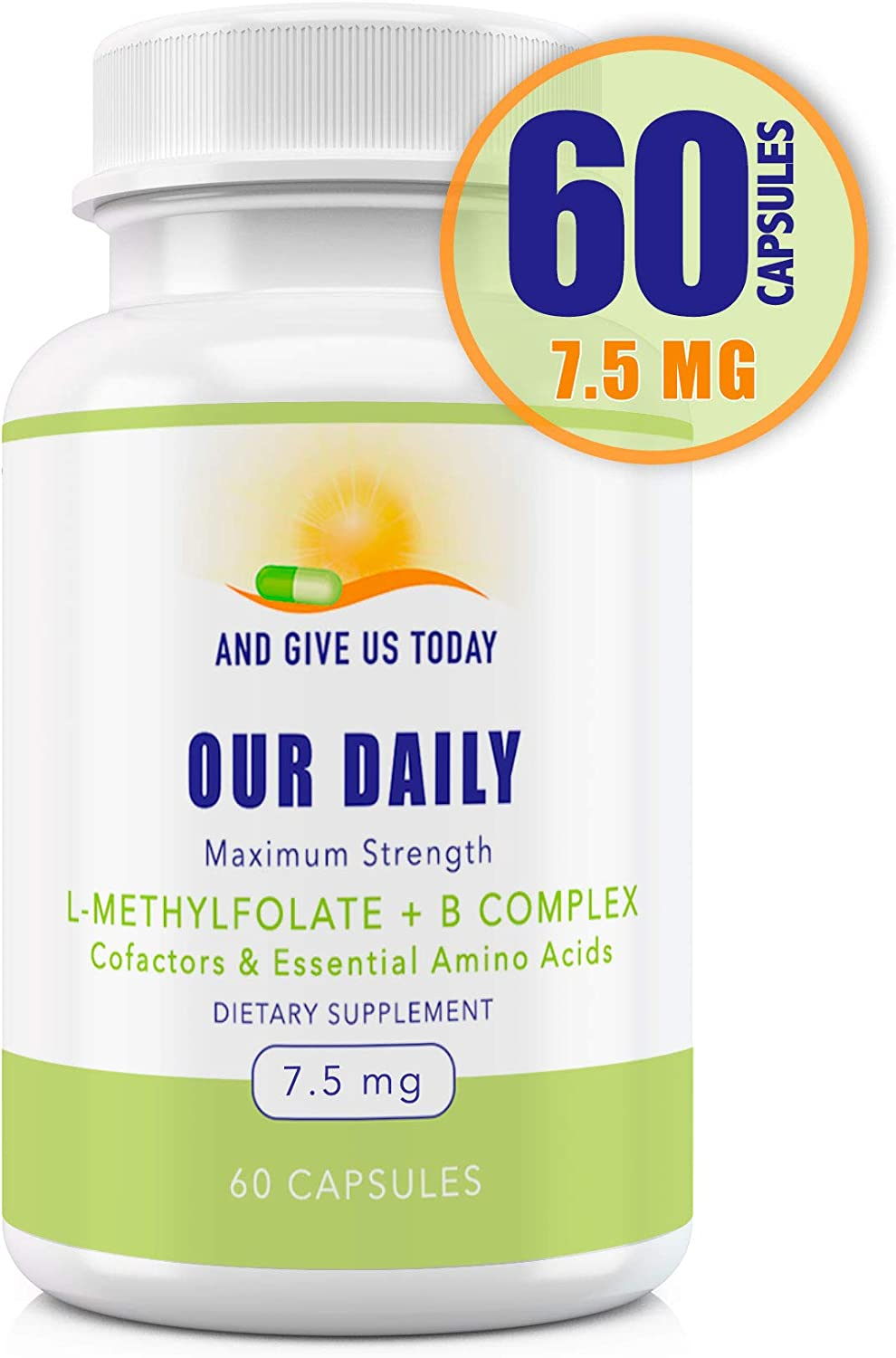 Our Daily Vites L-Methylfolate 7.5 mg + B Complex Cofactors & Essential Amino Acids - Active Folate, Methylated B12, B6 and Glycine for Brain, Heart & Fetal Health, 60 Count (2 Month Supply)