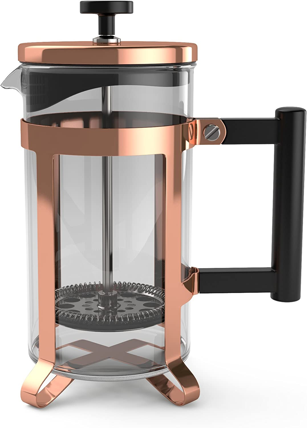 bonVIVO GAZETARO III French Press Coffee Maker, Cold Brew Coffee Makers Machine Made of Stainless Steel And Heat Resistant Borosilicate Glass, Coffee ...