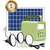 WAWUI Portable Solar Generator 84Wh with Solar Panel & Flashlights, Solar Powered Generator Kit for Emergency Backup Power, C