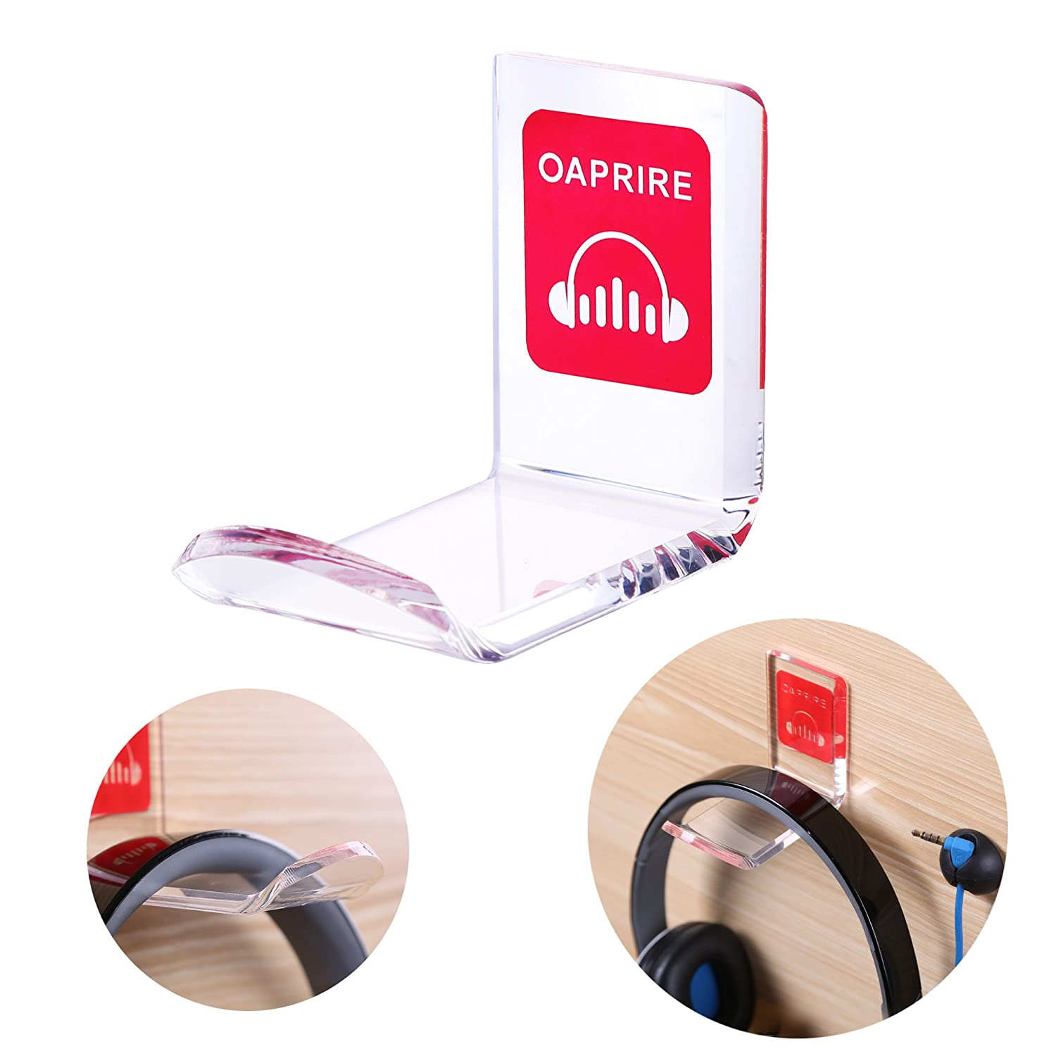 OAPRIRE Headphone Stand Holder Mount - Pack of 2 Transparent Acrylic Headset Stand, DIY Headphone Hanger Hook with Cable Clips - Red