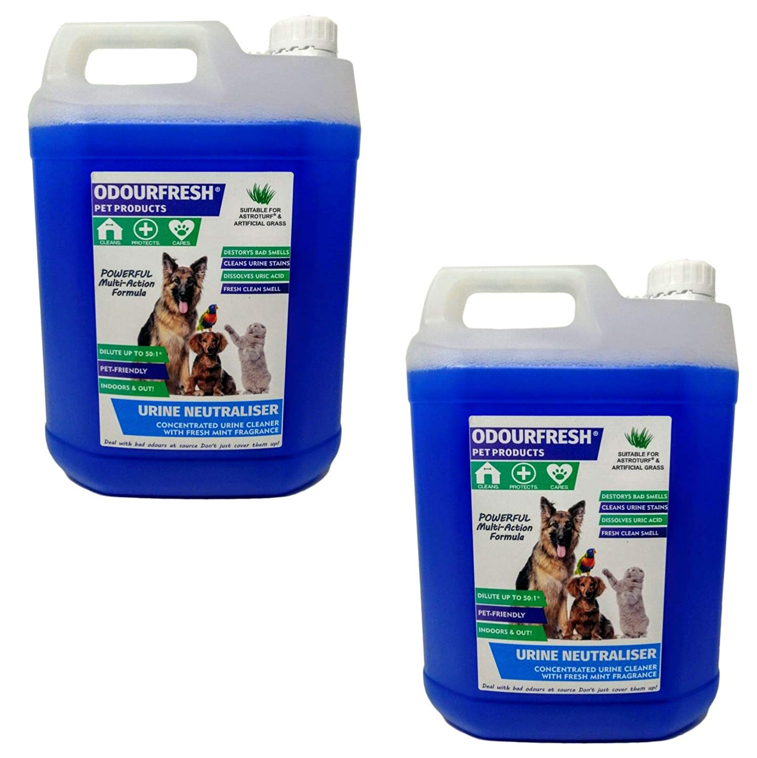 2x5L Odourfresh Urine Neutraliser Concentrate  Cleans Urine and Faeces  Destroys Bad Smells Caused by Cats and Dogs  For Carpets, Patios, Floors and Furniture (Spearmint, 4x5L)