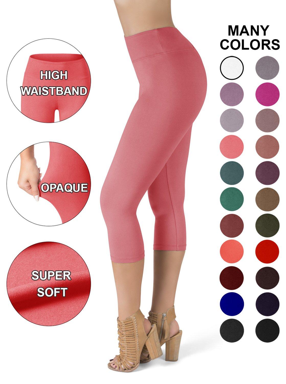 SATINA High Waisted Super Soft Capri Leggings - 20 Colors - Reg & Plus Size (Plus Size, Coral)